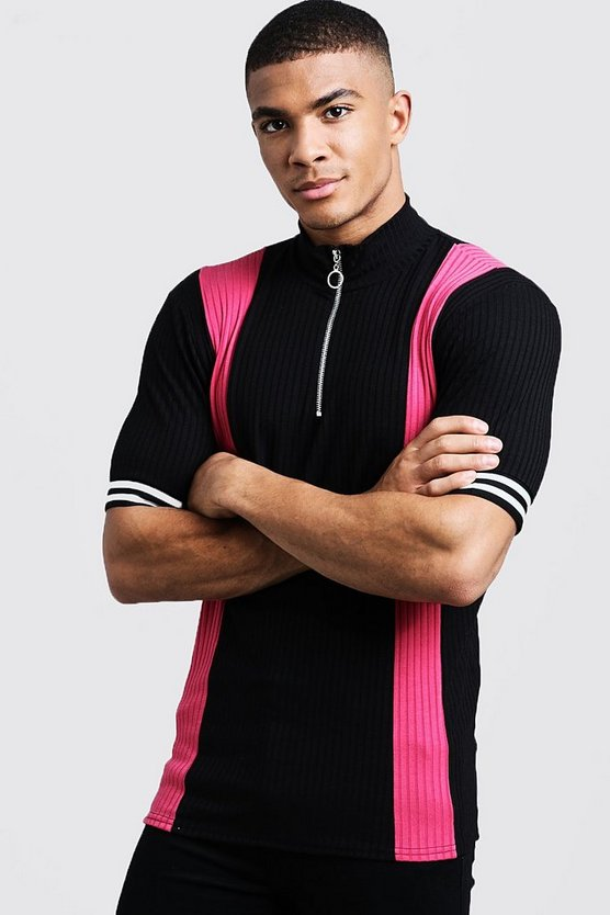 Pink Ribbed Knitted Polo With Zip