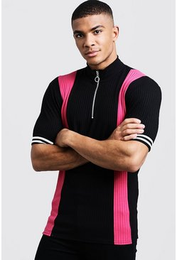 Mens Pink Ribbed Knitted Polo With Zip