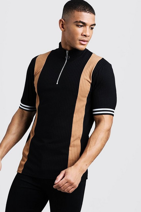 Mens Black Ribbed Knitted Polo With Zips
