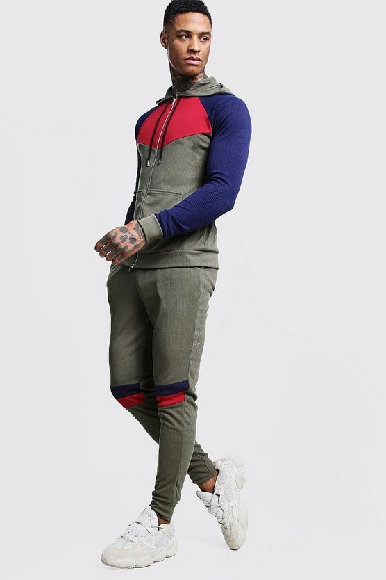 Mens Khaki Zip Through Colour Block Knitted Tracksuit