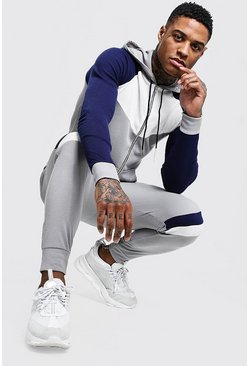 Mens Navy Zip Through Colour Block Knitted Tracksuit