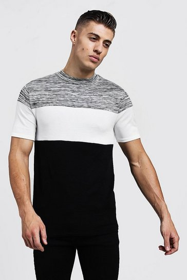Mens Black Muscle Fit Space Dye Contrast Knitted Tee