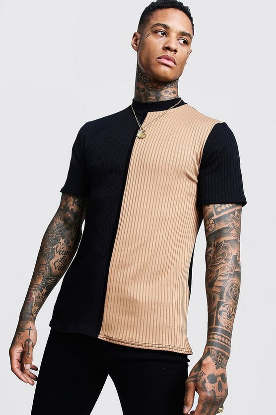 Mens Camel Contrast Knitted Turtle Neck Tee