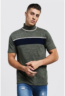 Mens Khaki Knitted Turtle Neck Colour Block T-Shirt