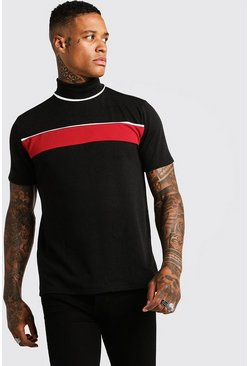 Mens Black Knitted Turtle Neck Colour Block T-Shirt