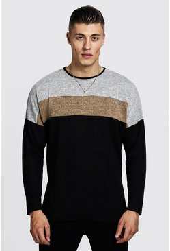 Mens Camel Drop Shoulder Colour Block Oversized Sweater