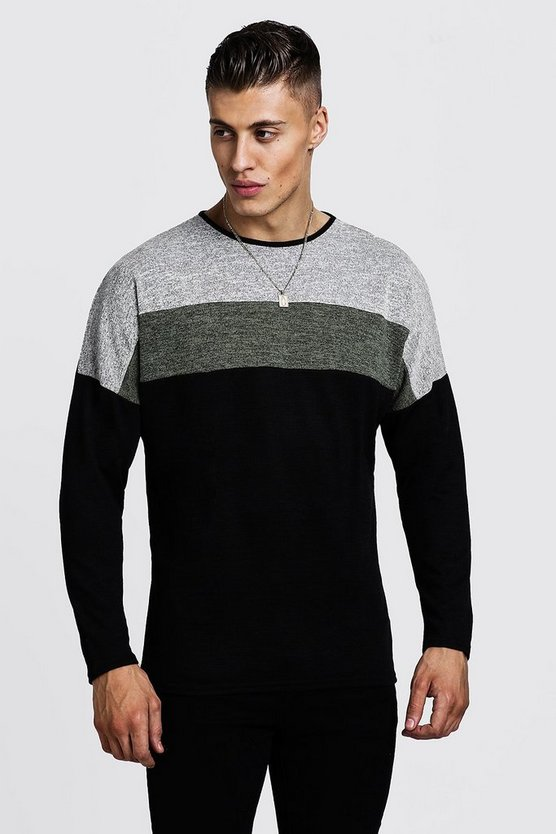 Mens Khaki Drop Shoulder Colour Block Oversized Jumper