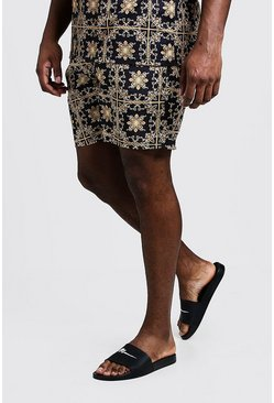 Mens Gold Big & Tall Baroque Tile Print Swim Shorts