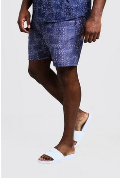 Navy Big & Tall Bandana Print Swim Shorts