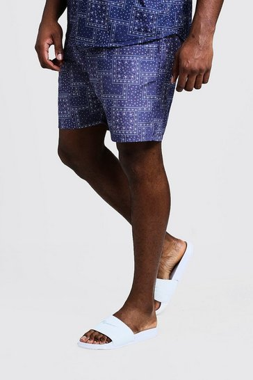 Mens Navy Big & Tall Bandana Print Swim Shorts