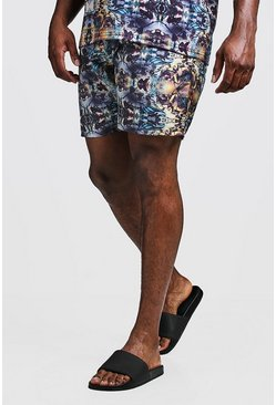 Mens Navy Big & Tall Kaleidoscope Print Swim Shorts