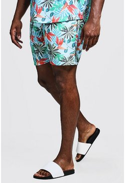 Mens Blue Big & Tall Botanical Print Swim Shorts