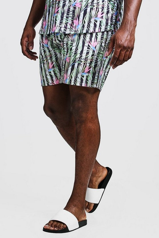 Mens White Big & Tall Stripe & Floral Print Swim Shorts