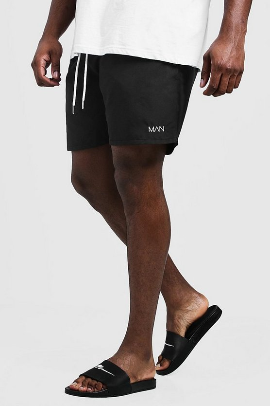 Mens Black Big & Tall Original MAN Mid Length Swim Short