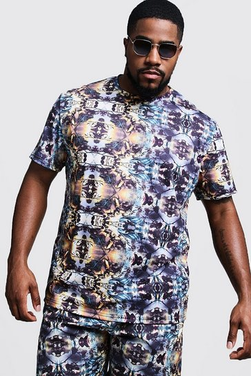 Mens Navy Big & Tall Kaleidoscope Print T-Shirt