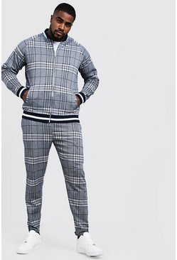 Mens Navy Big & Tall MAN Check Smart Bomber Tracksuit