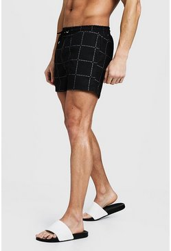 Mens Black MAN Square Print Mid Length Swim Short