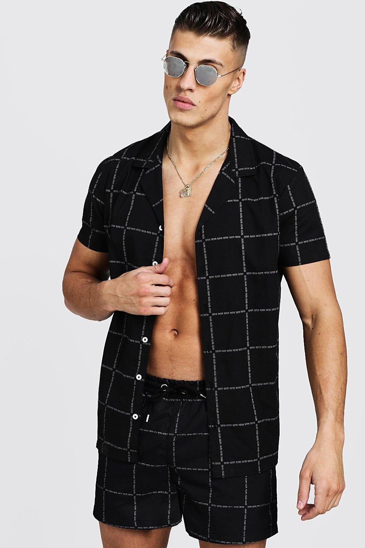 MAN Square Print Short Sleeve Revere Shirt