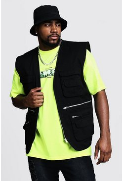 Mens Black Big & Tall Sleeveless Utility Cotton Vest