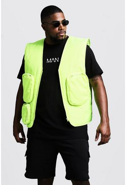 Mens Neon-yellow Big & Tall Sleeveless Neon Utility Vest