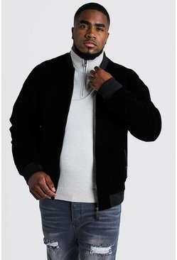 Mens Black Big & Tall Velour Bomber Jacket