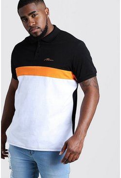Mens Black Big & Tall MAN Colour Block Ribbed Sleeve Polo
