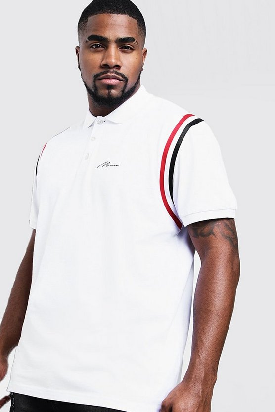 Mens White Big & Tall MAN Jersey Polo With Shoulder Tape