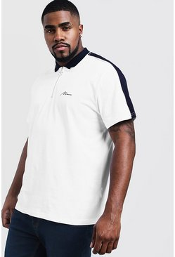 Mens White Big & Tall MAN Zip Through Shoulder Panel Polo