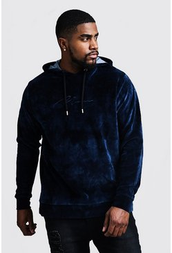 Mens Navy Big & Tall MAN Tie Dye Velour Hoodie