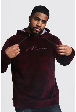 Big & Tall Sweat à capuche en velours tie-dye Tall MAN, Bordeaux, Homme