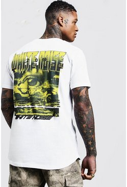 Mens Printed White Noise Longline Curved Hem Tee