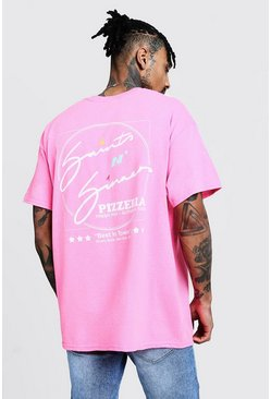 "T-shirt oversize con scritta posteriore ""Saints N Sinners"", Rosa, Maschio"