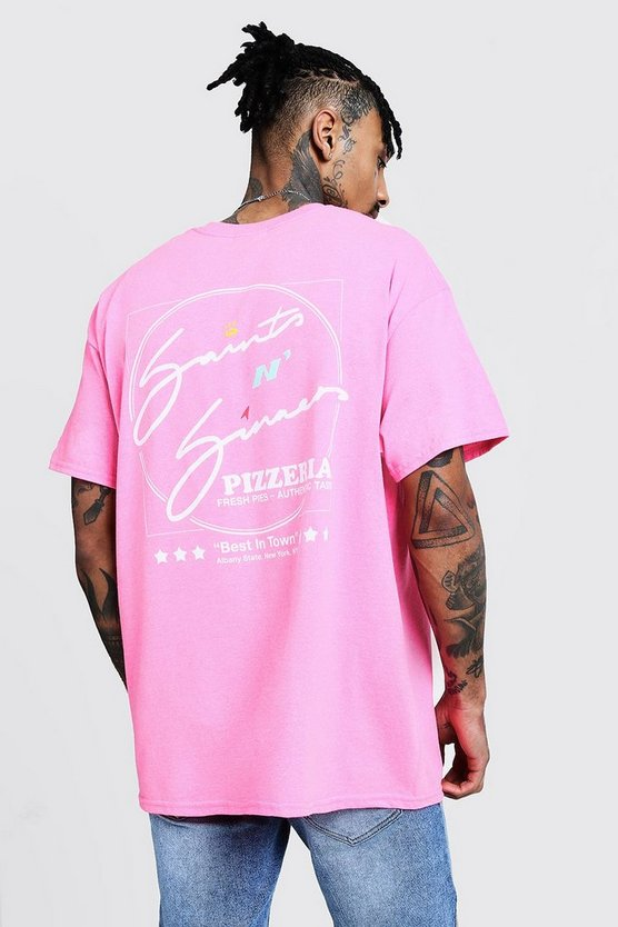 Mens Pink Back Print Saints N Sinners Oversized Tee