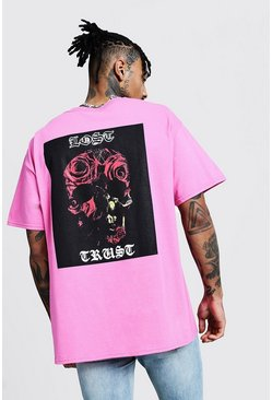 Mens Bright pink Oversized Back Print Short Sleeve Tee