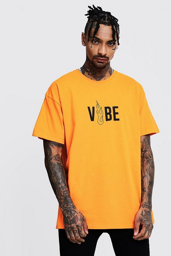 Mens Orange Vibe Front Print Oversized Neon Tee