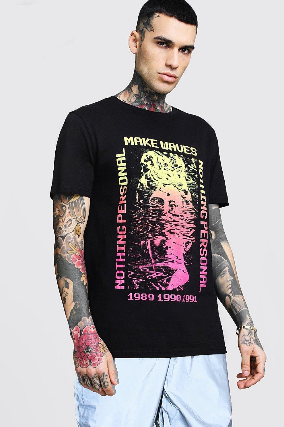 5ce58e170f522a Longline Make Waves Front Print T-Shirt