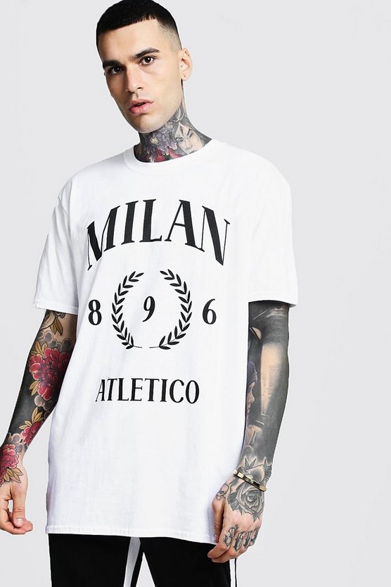 Mens White Oversized Milan Print T-Shirt