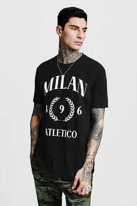 Mens Black Oversized Milan Print T-Shirt