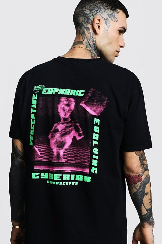 Mens Black Oversized Euphoric Front and Back Print Tee