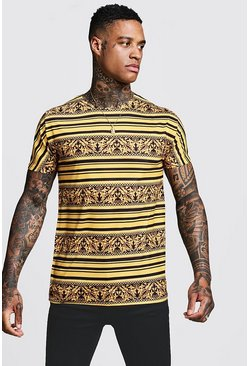 Mens Gold Stripe Baroque T-Shirt