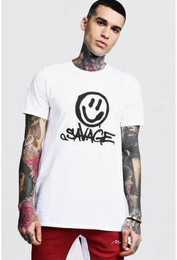 Mens White Savage Face Print T-Shirt