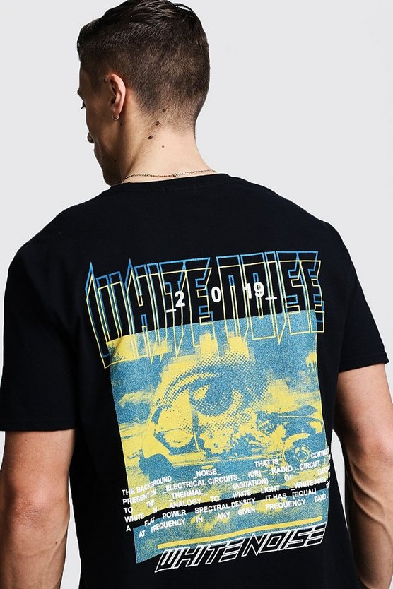 Mens Black Oversized White Noise Graphic Printed Tee
