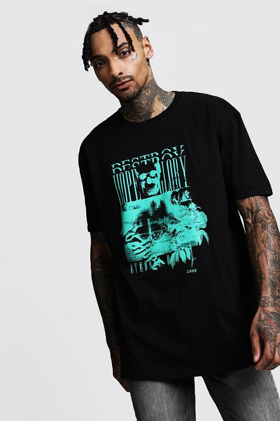 Mens Black Oversized Hope Glory Print Short Sleeve Tee