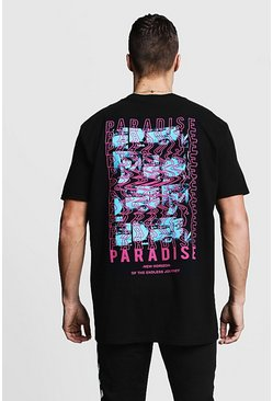 Mens Black Oversized Paradise Front & Back Print Tee