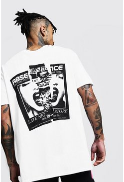 Mens White Oversized Back Print Graphic Tee