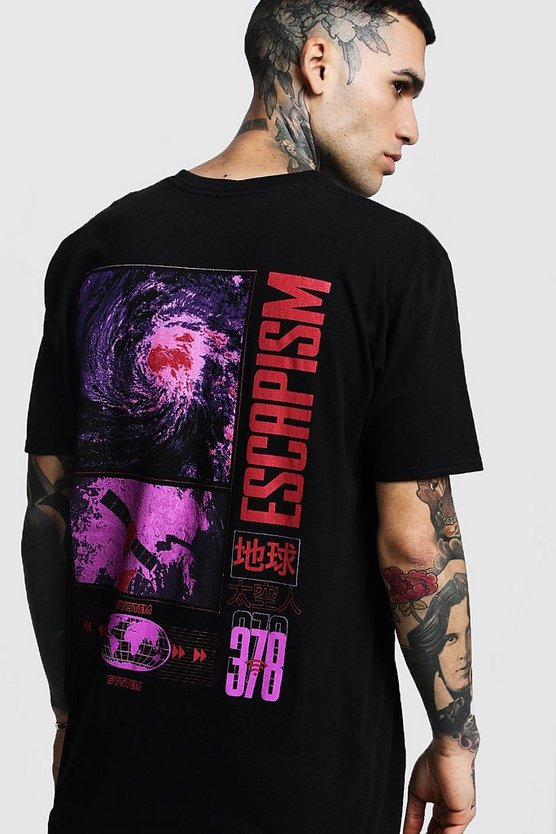 Mens Black Printed Escapism Oversized Tee