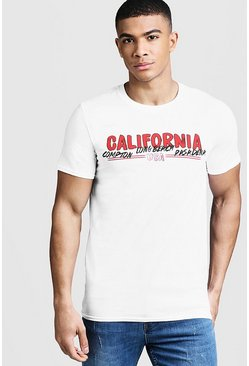 Mens White California Print Slogan T-Shirt