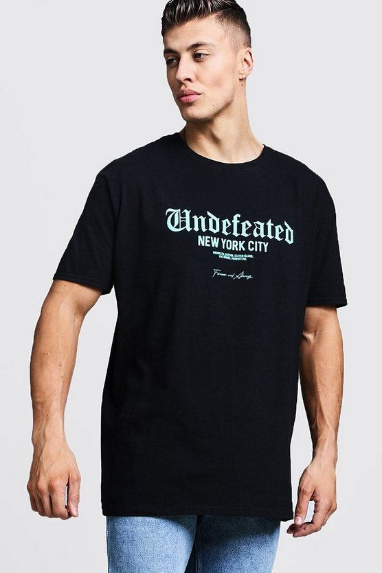 Mens Black Oversized Undeflected Front Print T-Shirt
