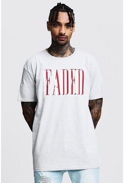 Mens Grey Oversized Faded Slogan Print Tee