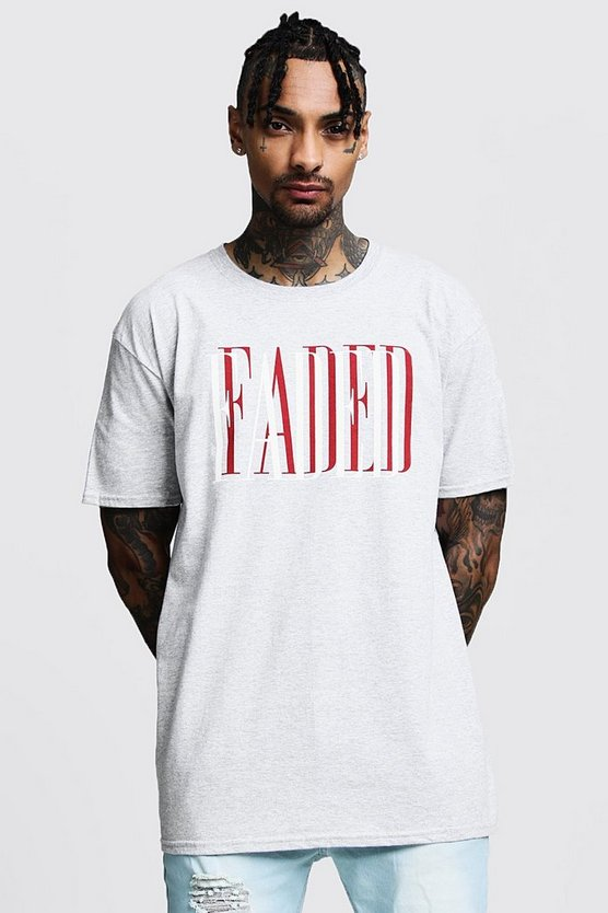 Oversized Faded Slogan Print Tee